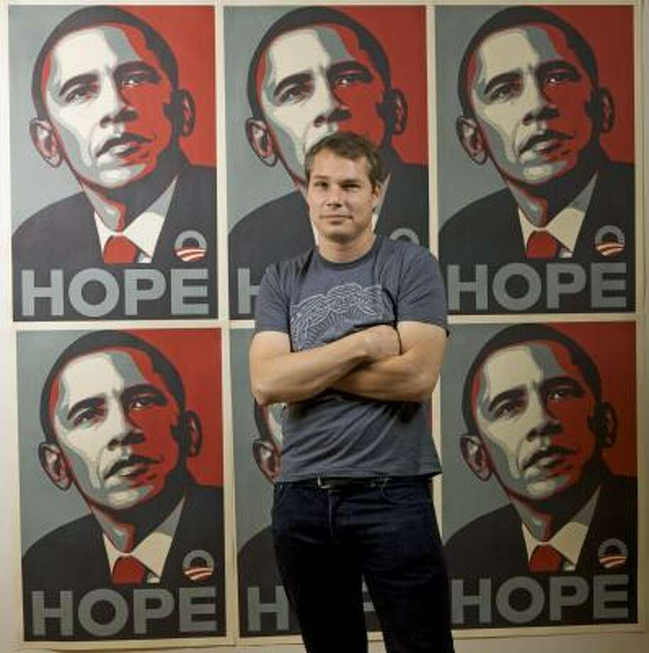 Artist Shepard Fairey created the Hope posters featuring Barack Obama. His first solo exhibit features portraits of Muslim women, which he hopes people will interpret individually. Photo:  ASSOCIATED PRESS FILE