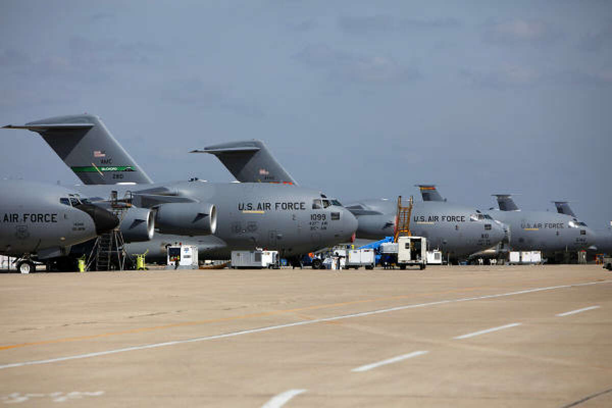 Boeing Global Services & Support's repair facility in San Antonio refits dozens of planes at a time, like these C-17s.
