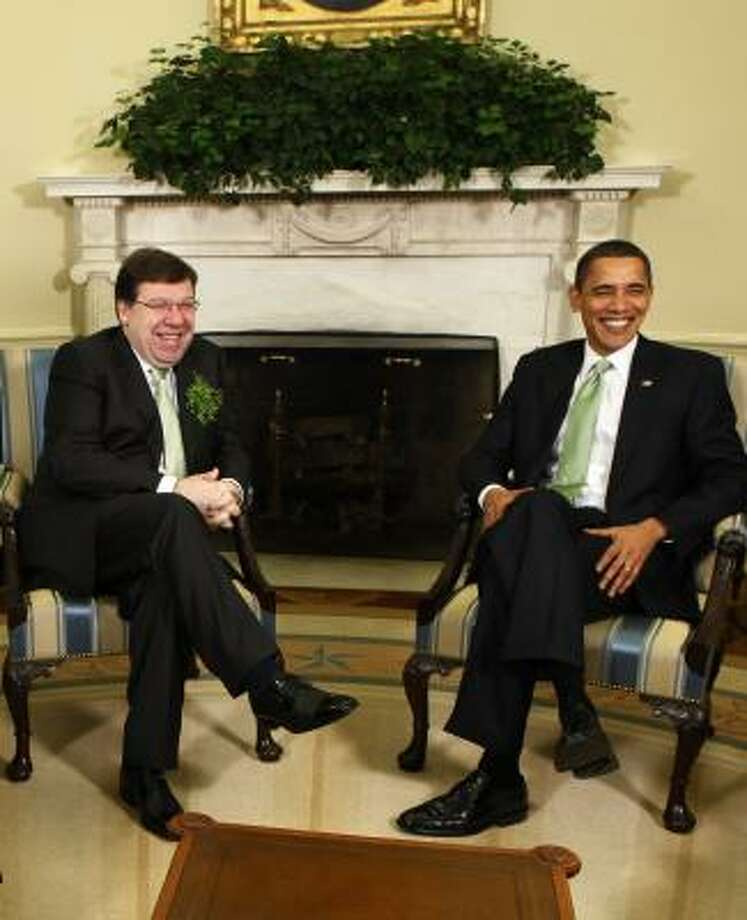 President Barack Obama meets with Irish Prime Minister Brian Cowen on Tuesday in the Oval Office. Photo: Gerald Herbert, AP
