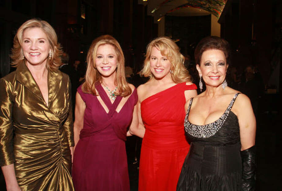 University of Houston Moores School of Music Society's gala chairs Patti Dale Tye, from left, Cindi Rose and Lori Sorcic held the spotlight with society president Philamena Baird at Saturday night's fundraiser. Photo: Gary  Fountain, For The Chronicle