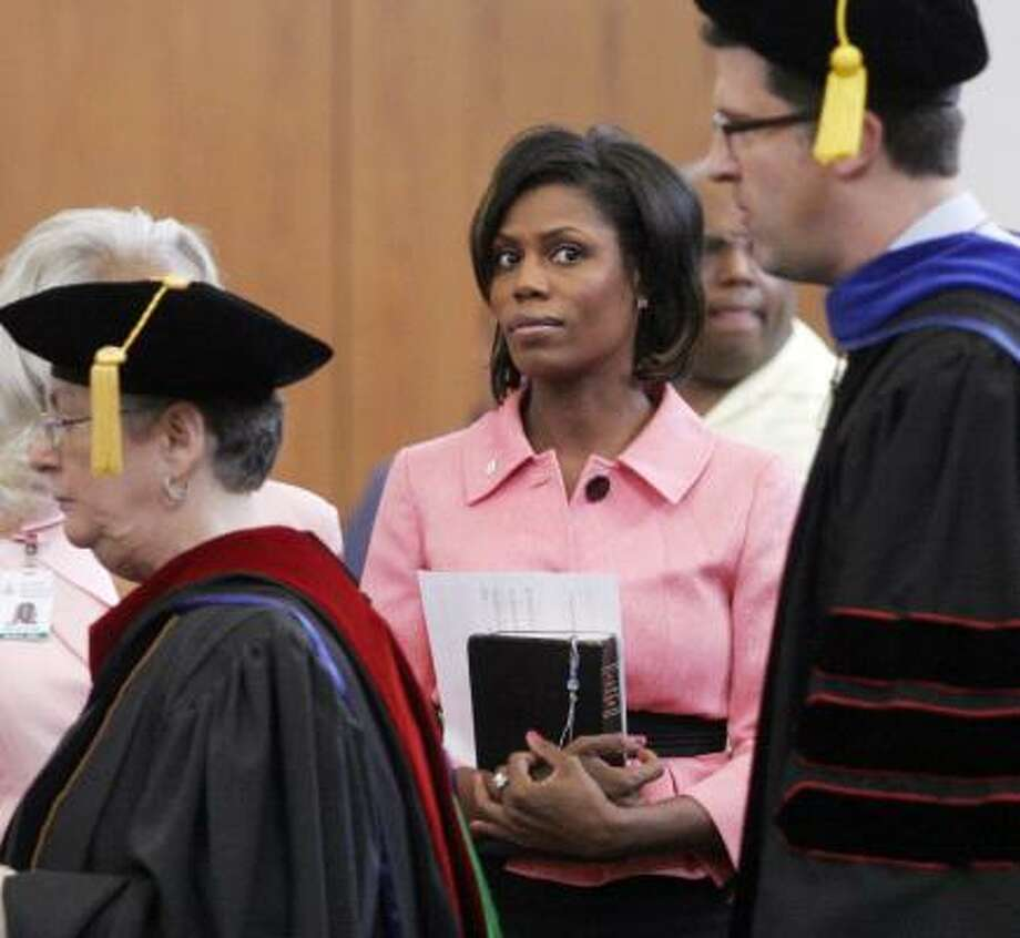 Omarosa Manigault-Stallworth observes a faculty academic procession last month at the United Theological Seminary in Dayton, Ohio, where she's studying to become a minister. Photo: Chris Stewart, ASSOCIATED PRESS