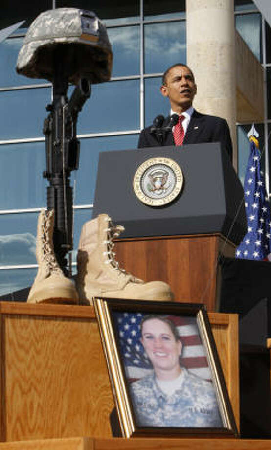 """President Barack Obama speaks at Fort Hood. """"We press ahead in pursuit of the peace that guided their service. May God bless the memory of those that we have lost."""" he said, according to the White House. Photo: Pablo Martinez Monsivais, AP"""