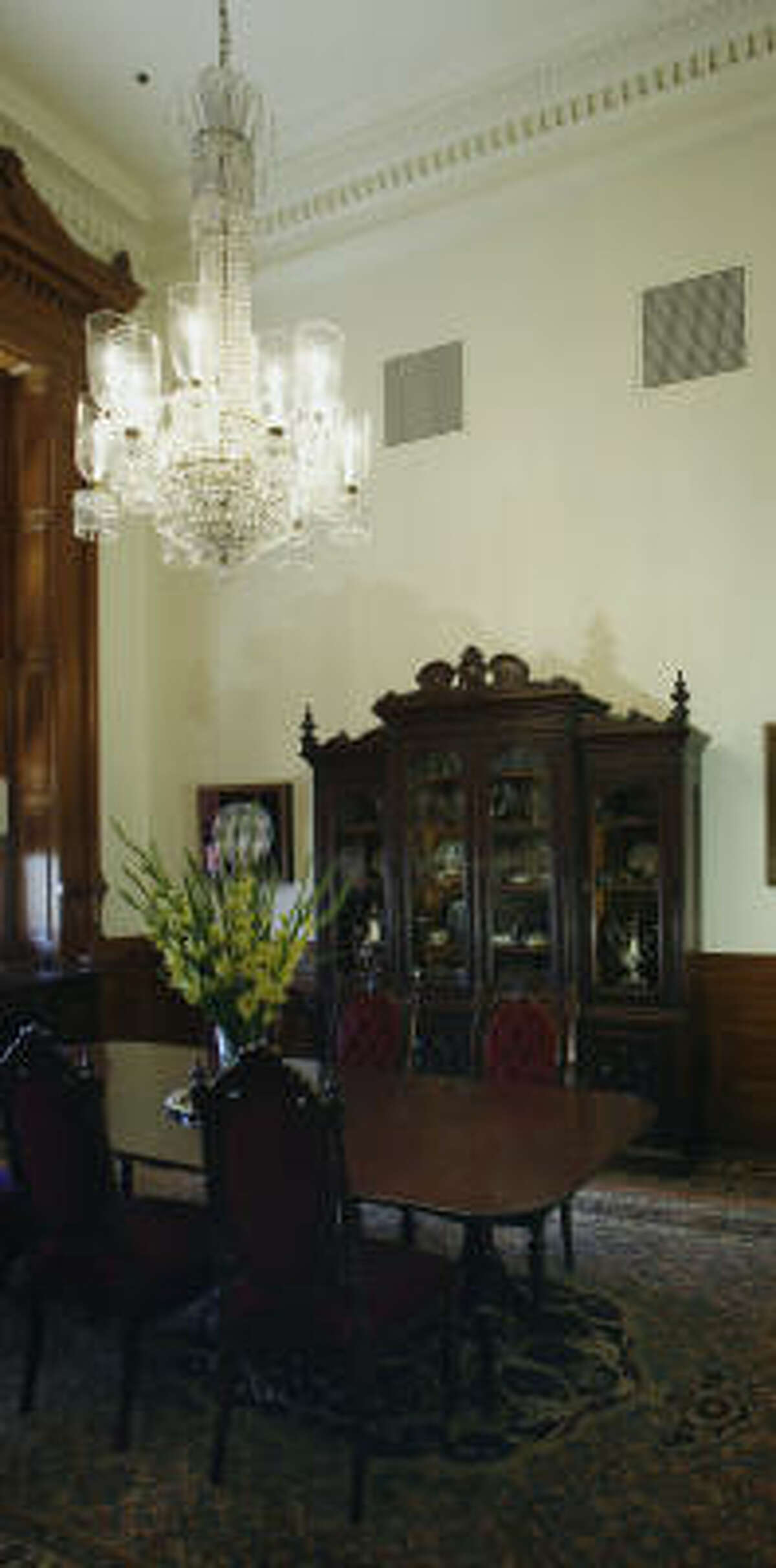 The purchase order for this chandelier hanging in the dining room of the Capitol apartment of the speaker of the Texas House of Representatives reveals a cost of $75,000.