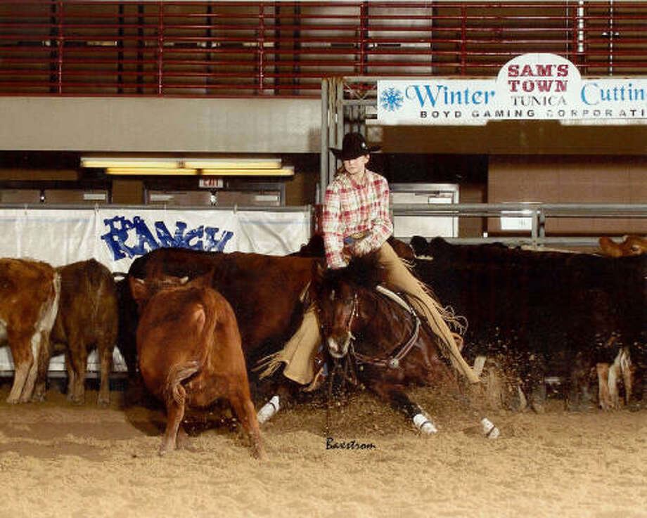 "Kelsey Conn: ""It was kind of a long shot, and I didn't really think about it in the Finals. The cattle seemed a little faster and harder on (my horse), but he stayed consistent most of the way throught the show."" Photo: National Cutting Horse Association"