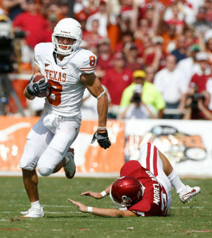 Jordan Shipley's skills on kickoff and punt returns has added a missing aspect to the annual UT-OU matchup. Photo: Nick De La Torre, Houston Chronicle