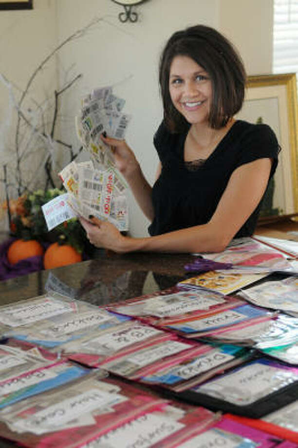 Makana Hansen of Tomball has become an expert in food storage and clipping coupons. Photo: Jerry Baker, For The Chronicle