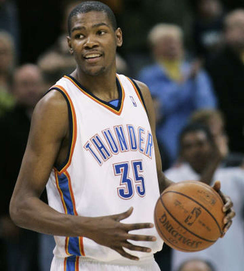 Oklahoma City Thunder guard Kevin Durant is among the current NBA players expected to attend the first annual T.J. Ford Celebrity Bowl-a-Thon. Photo: Sue Ogrocki, AP