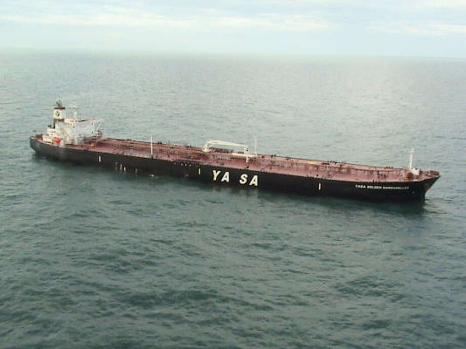 The tanker Yasa Golden Dardanelles, which was carrying more than 600,000 barrels of fuel oil, was  grounded 22 miles off the Galveston coast until being freed early Tuesday after some of its cargo was transferred to another ship. Photo: Coast Guard