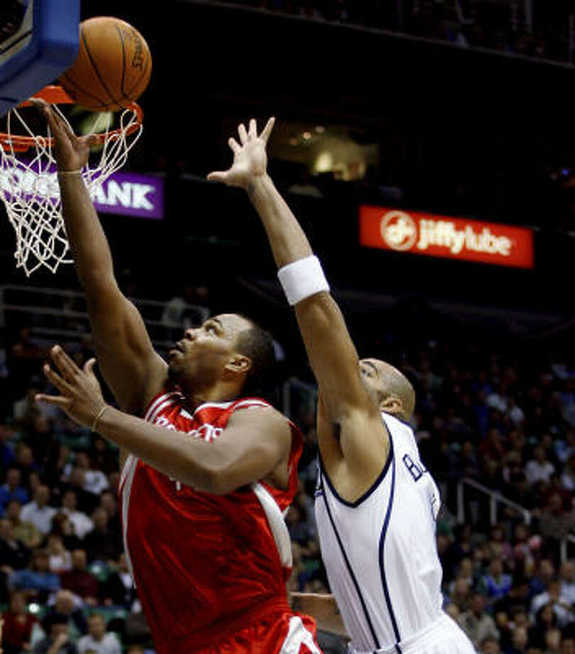 Chuck Hayes reached double figures as did every other Rockets starter and three reserves. Photo: Steve C Wilson, AP