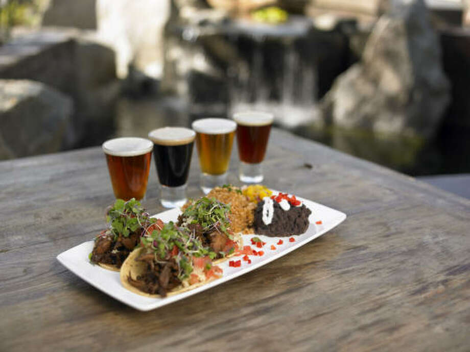 Barbecue duck tacos and beer samples at Stone Brewing Co. Photo: Stone Brewing Co.