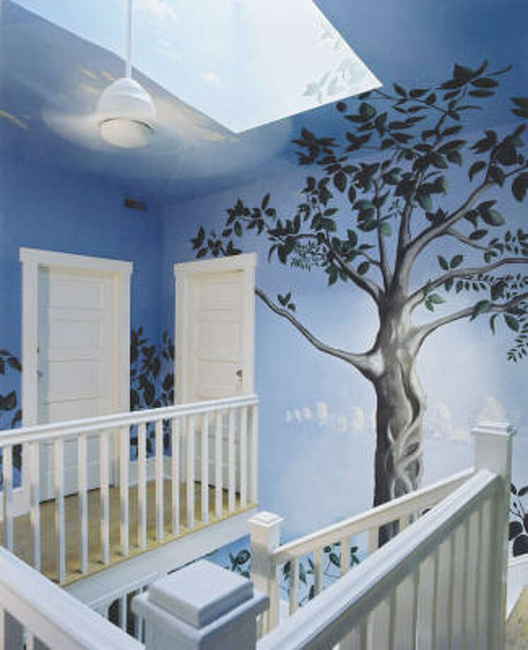 Trompe l'oeil: Muralist Matthew Willey created this mural for a client who had a primarily white house. Because from almost   everywhere on the ground floor one could appreciate the stairwell space, it became the natural choice for an area for a mural.