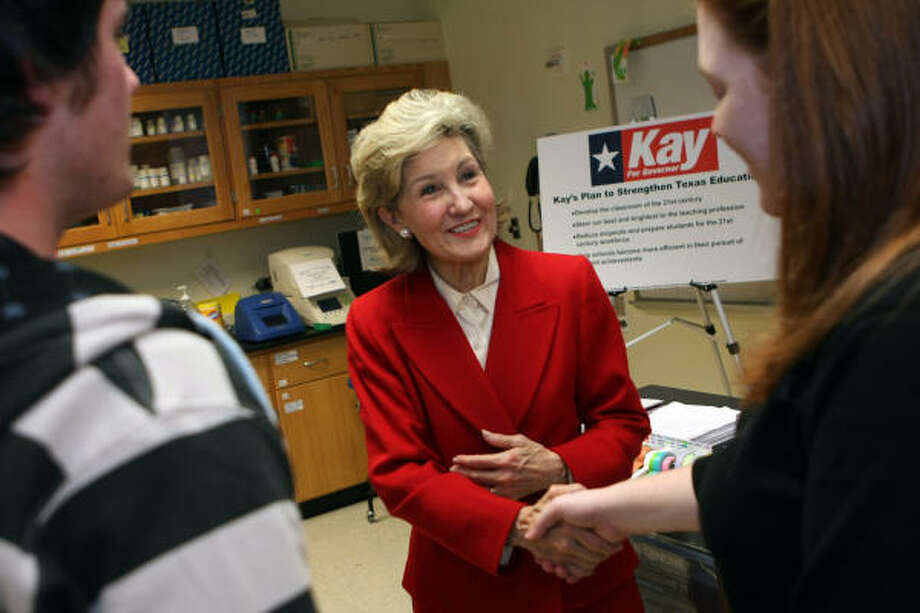 U.S. Sen. Kay Bailey Hutchison greets John Ruddell, 19, and Erica Maresh, 24, after discussing her education initiatives at the Collin County Community College District in Plano on Tuesday. Photo: Ben Torres, Associated Press