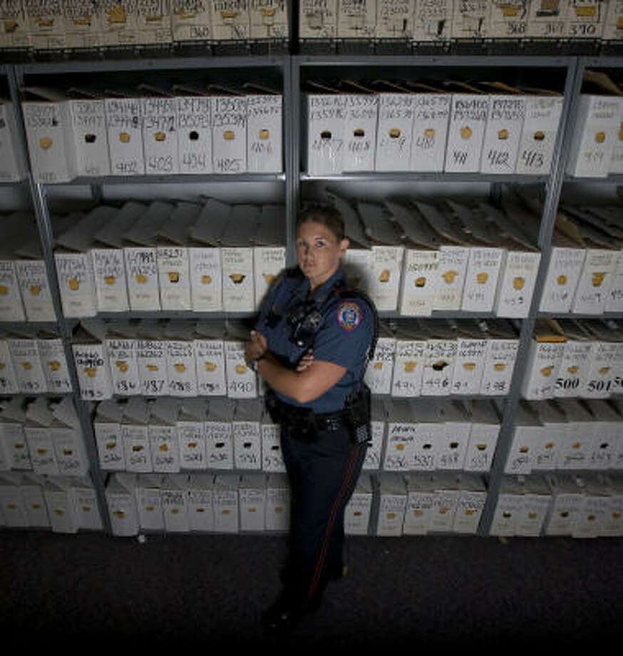 Galveston County Precinct 4 Deputy Constable Tiffany Atkins with nearly 17,000 outstanding warrants in Santa Fe. Photo: James Nielsen, Chronicle