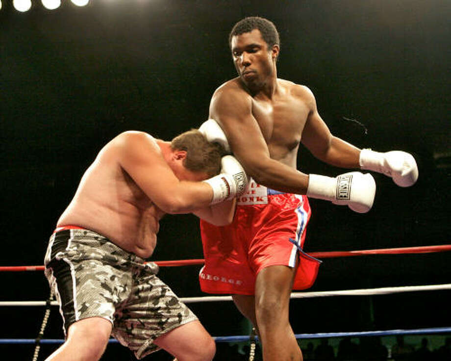 George Foreman III knocked out Clyde Weaver in the first round Saturday to win his professional boxing debut in Kinder, La. Photo: Karen Wink, AP