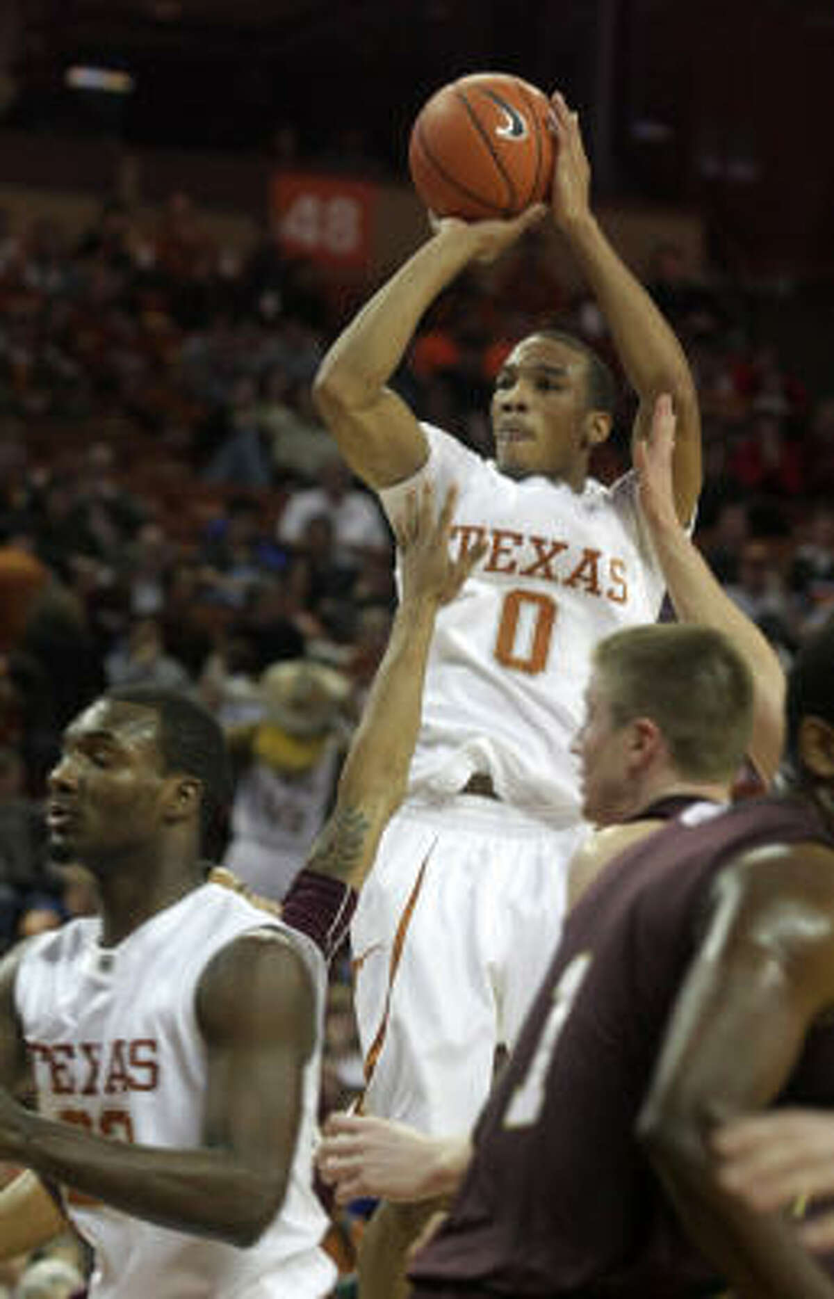 Texas guard Avery Bradley (0) didn't start right away as the Longhorns' lineup is one of the deepest in the nation.