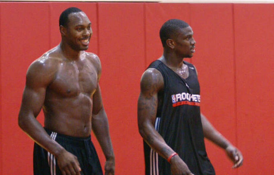 Rockets forward Joey Dorsey, left, has trimmed down after gaining weight while sitting out last year. Photo: Anna-Megan Raley., For The Chronicle
