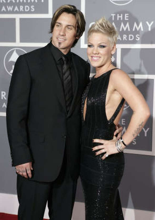 Carey Hart, left, and Pink arrive for the 49th Annual Grammy Awards Feb. 11, 2007, in Los Angeles. Photo: Matt Sayles, AP