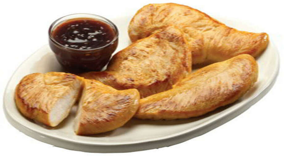 Jack in the Box's Grilled Chicken Strips, shown with teriyaki dipping sauce, have just 177 calories and 2 grams of fat. Photo: JACK IN THE BOX