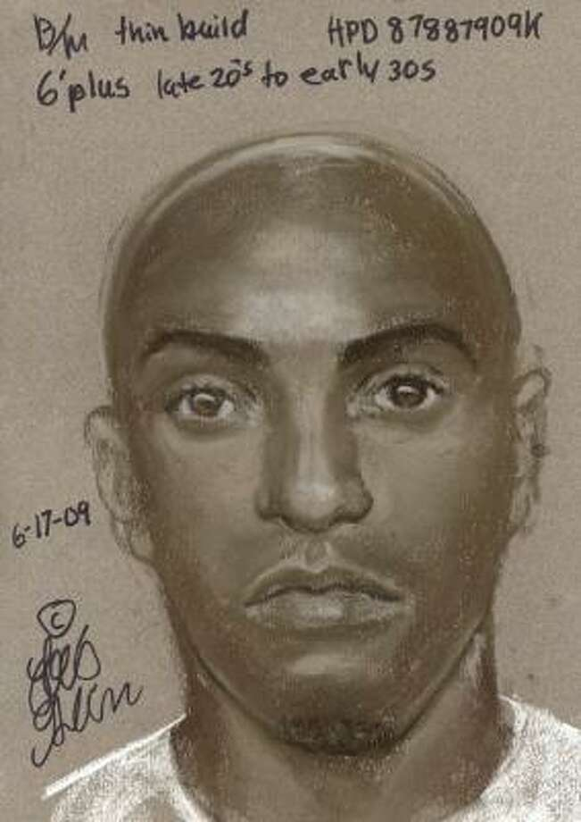 Police are seeking two suspects, one of whom is sketched above, in a northwest Houston sexual assault. Photo: HPD