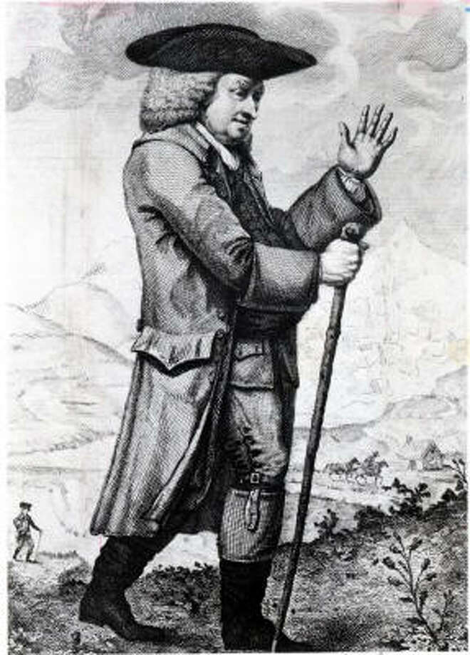 In this 1786 engraving by Thomas Trotter, Samuel Johnson is depicted on a tour of Scotland. He made the tour with his friend and biographer James Boswell.