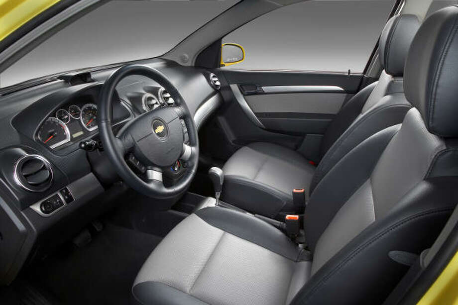 The Aveo5's interior is notably roomy for a subcompact, offering practical passenger- and cargo-toting capabilities. Leatherette upholstery is an option.