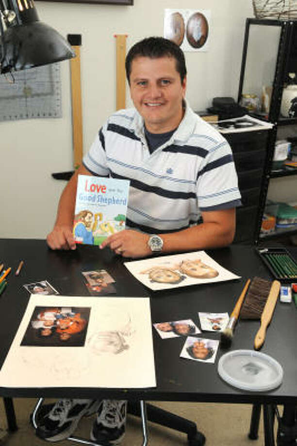 CREATIVE MIND: Gabriel Riquelme, author of the Christian book Love and the Good Shepherd, also is a portrait artist. Photo: Jerry Baker, For The Chronicle