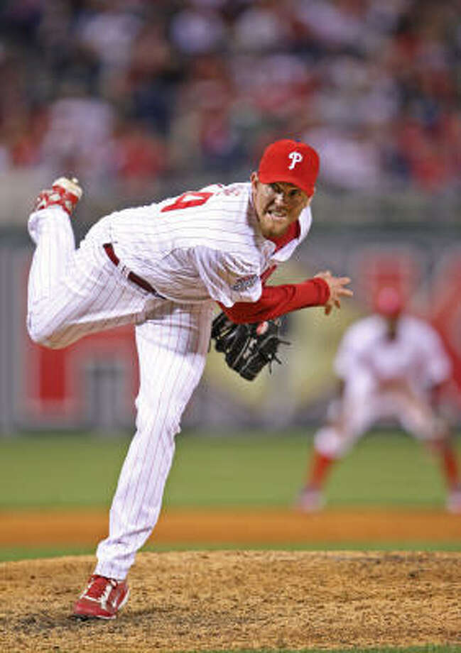 The Phillies' Brad Lidge blew his first save in 54 opportunities, allowing four runs to let the Padres sneak out of Philadelphia with a win. He last blew a save in September 2007 with the Astros. Photo: Micharel Bryant, MCT