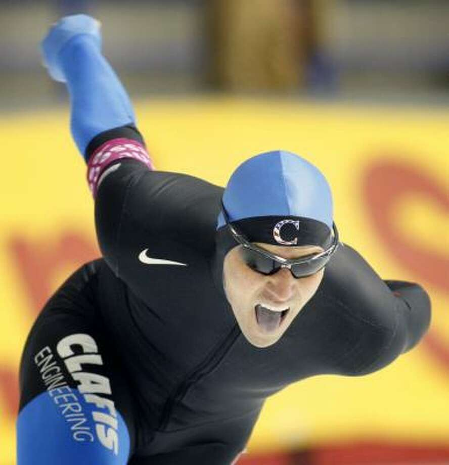 Chad Hedrick of Spring iced the competition in the 1,500 meters at the World Cup long-track speedskating competition in Calgary, Alberta. Photo: Jeff McIntosh, AP
