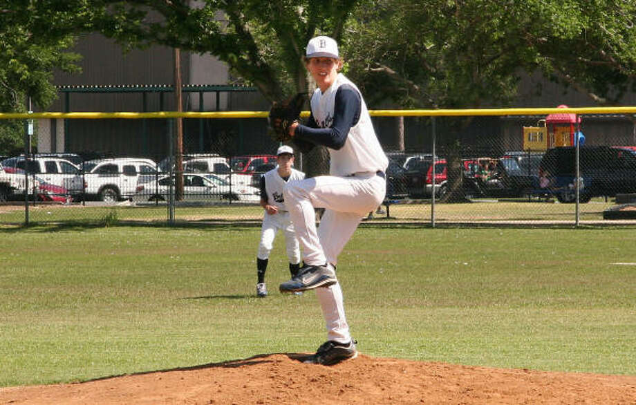 In a five-inning win, senior pitcher Grayson Chaney threw a perfect game. Chaney struck out nine batters. Photo: Bay Area Christian