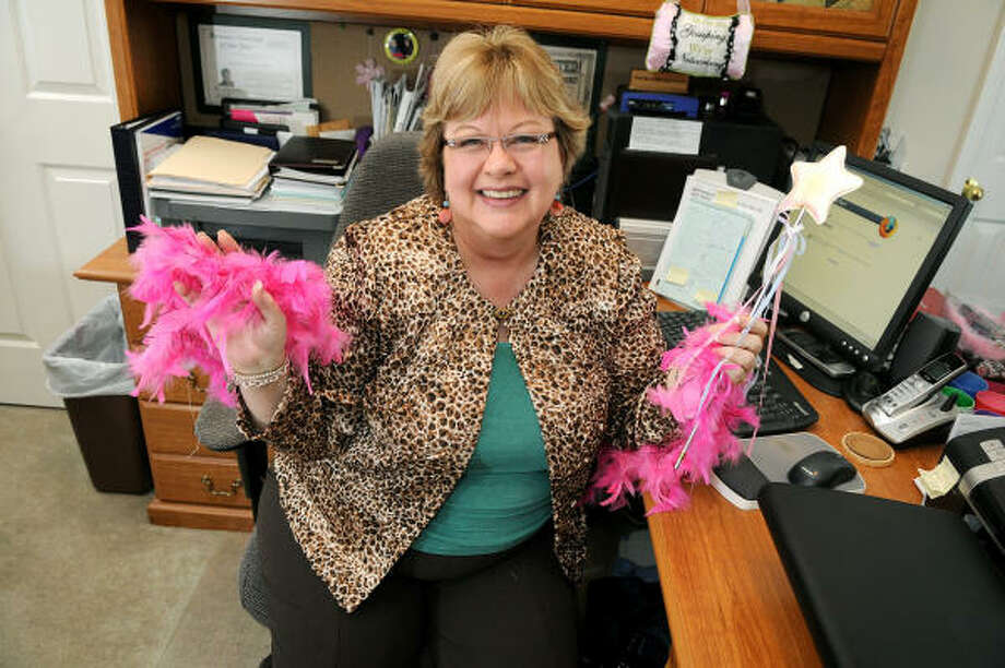 MARKETING FAIRY GODMOTHER: Carmen Wisenbaker, president of the Penworth Publishing and Marketing in Humble, honors local businesses that work hard for their customers. Photo: Jerry Baker, For The Chronicle
