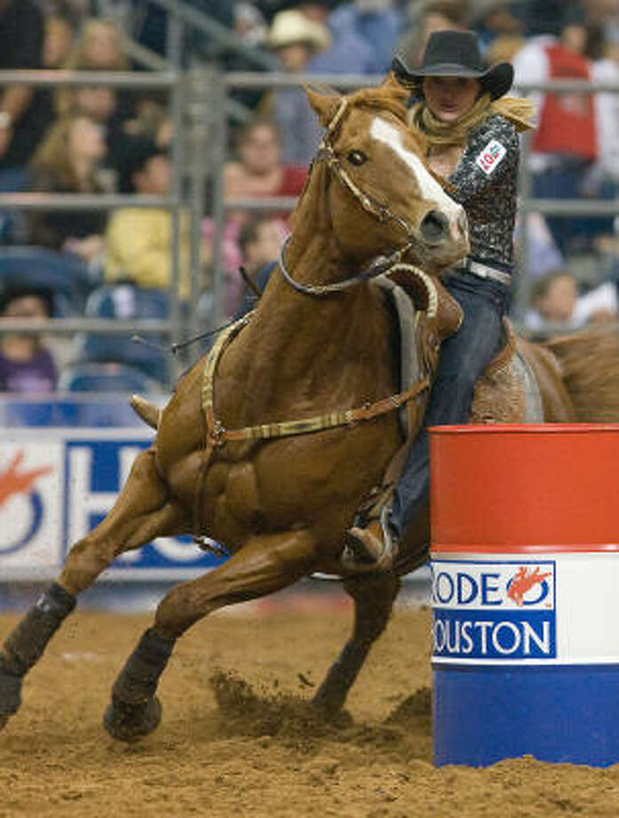Lindsay Sears began defense of her RodeoHouston barrel racing title on Tuesday. Photo: Steve Campbell, Houston Chronicle