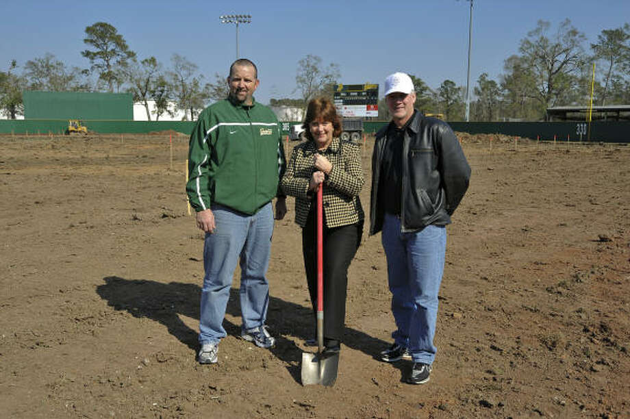 FIELDING OF DREAM: San Jacinto College North officials on hand at a recent groundbreaking ceremony at John Ray Harrison Field included, from left, Shawn Silman, athletic director; Allatia Harris, campus president; and Tom Arrington, head baseball coach. Photo: Rob Vanya, For The Chronicle