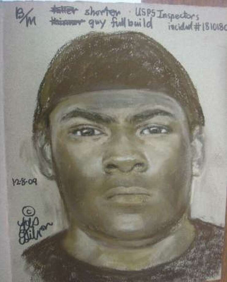 This is a sketch of a man wanted in the robbery of a postal truck driver last month. Photo: Handout Sketch