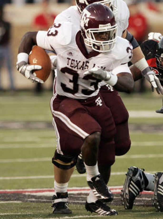 Running back Christine Michael rushed for 121 yards and two touchdowns in the Aggies' 52-30 win over then-No. 21 Texas Tech. Photo: Mike Fuentes, AP