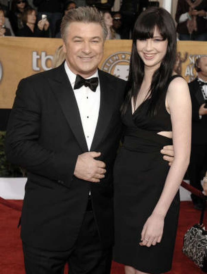 Alec Baldwin and daughter Ireland arrive at the 15th Annual Screen Actors Guild Awards on Sunday in Los Angeles. Photo: Chris Pizzello, AP