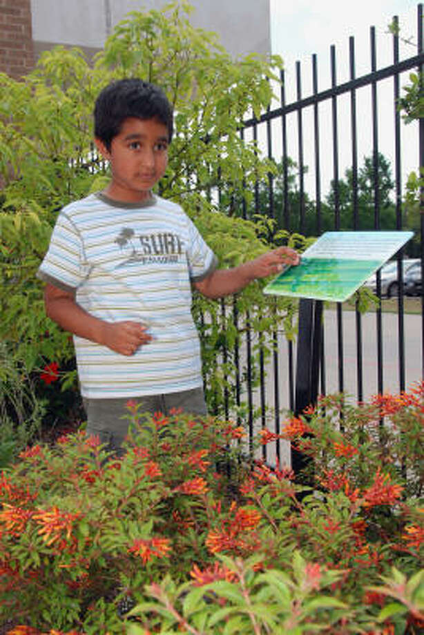 Learning environment: Hancock Elementary kindergartener Mustafa Vejlani reads Braille on one of the displays in the garden. Photo: ALL
