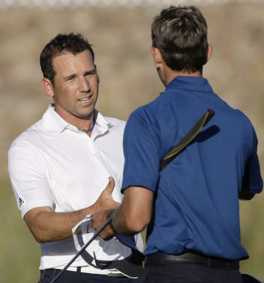 No. 2 Sergio Garcia (left) is one of several stars who will compete in the Shell Houston Open. Photo: Ross D. Franklin, AP