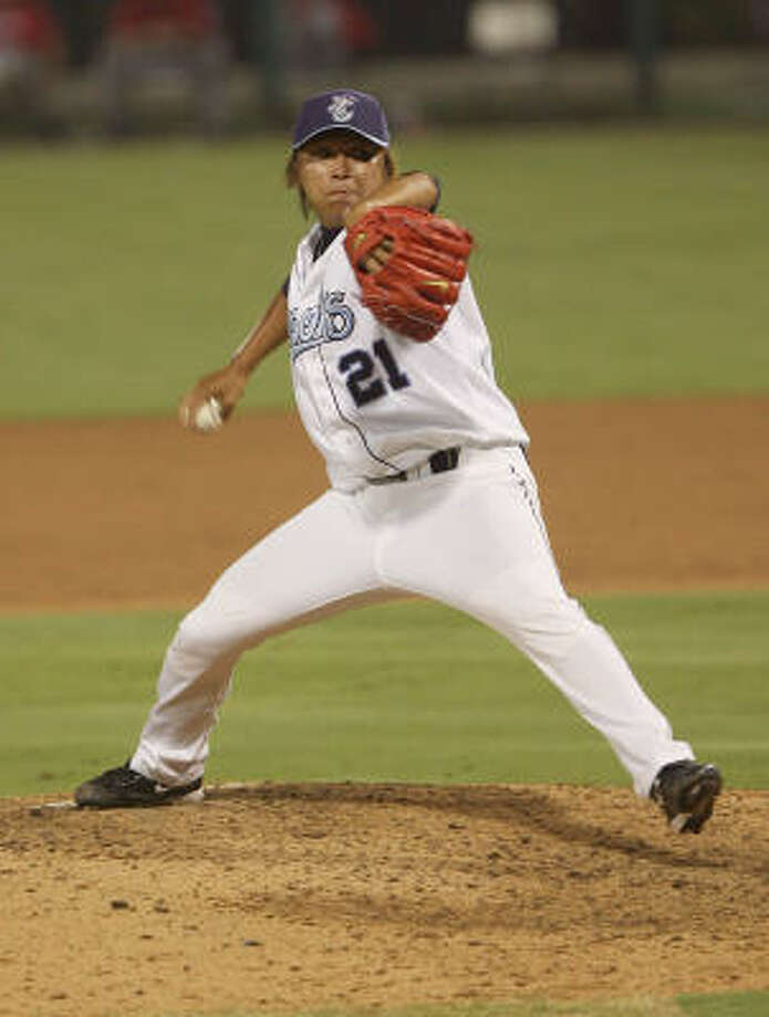 Chia-Jen Lo went 1-0 with a 1.78 ERA and 12.8 strikeouts per nine innings for Lancaster before his call to Corpus Christi. Photo: Todd Yates, For The Chronicle