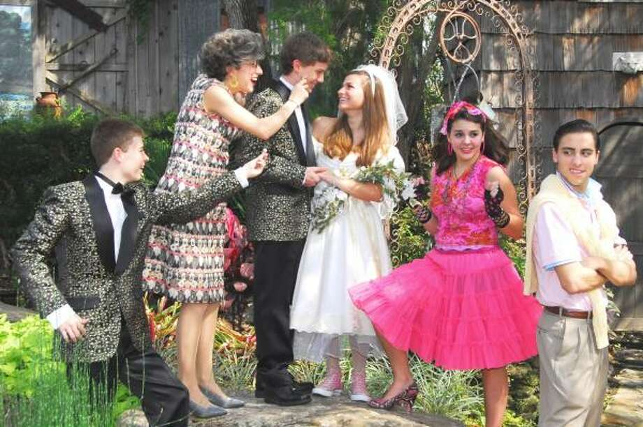 "READY TO WED: The cast of Stratford High School's production of ""The Wedding Singer: the Musical."" From left John Karna, DA White, Matt Cragg, Peyton Stackhouse, Laura Dunn and Nick Canon."