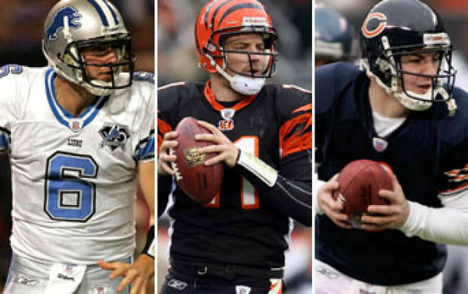Dan Orlovsky, left, Ryan Fitzpatrick, center, and Rex Grossman might be best suited to fill the Texans' needs. Photo: GETTY IMAGES