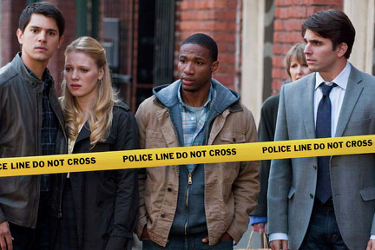 (L-R) Nicholas D'Agosto as Sam Lawton, Emma Bell as Molly Harper, Arlen Escarpeta as Nathan and Miles Fisher as Peter in