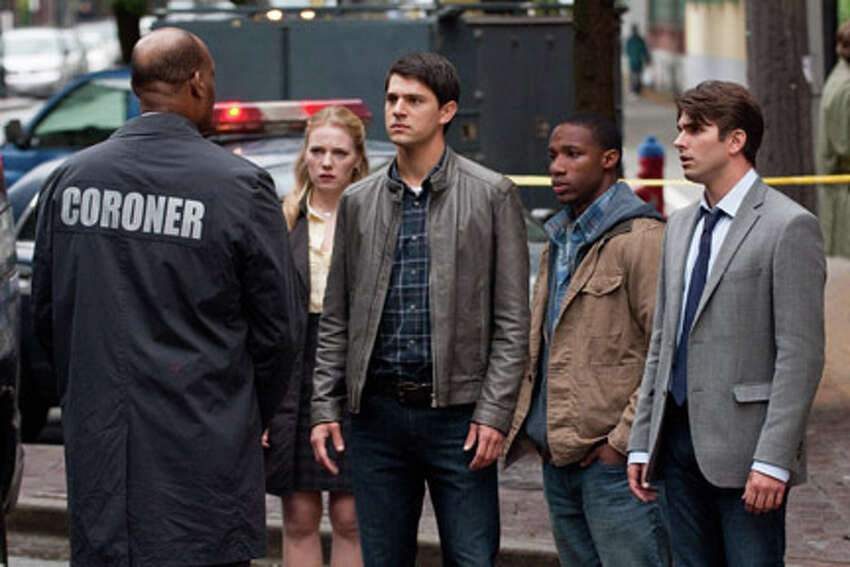 (L-R) Tony Todd as Bludworth, Emma Bell as Molly Harper, Nicholas D'Agosto as Sam Lawton, Arlen Escarpeta as Nathan and Miles Fisher as Peter in