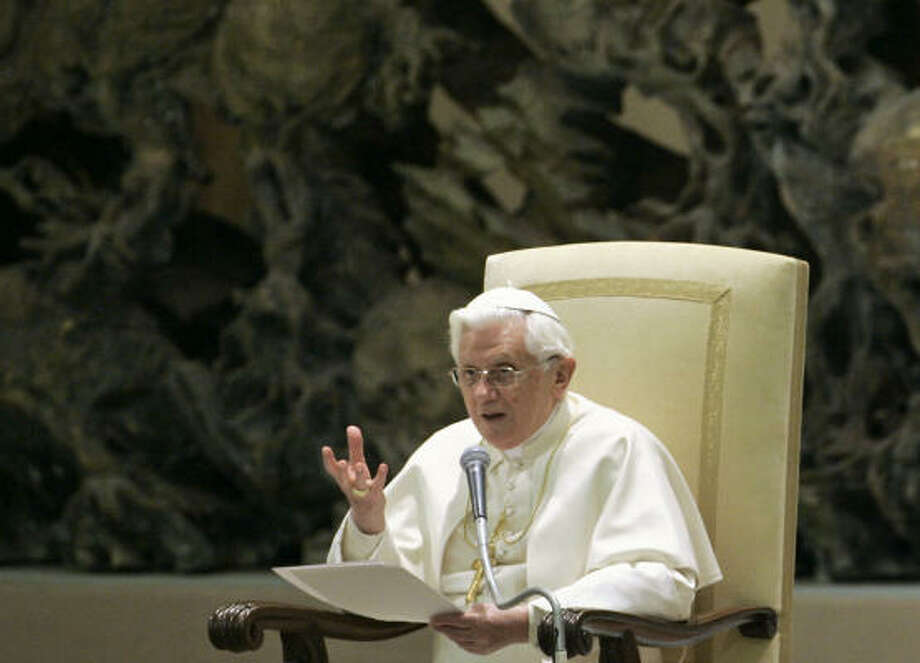 Pope Benedict XVI delivers his speech during his weekly general audience in the Paul VI hall at the Vatican on Wednesday. Photo: PIER PAOLO  CITO, Associated Press