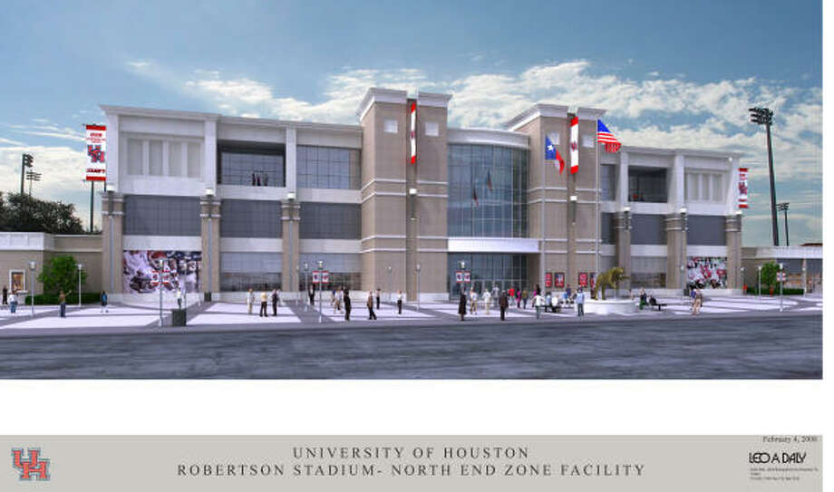 A proposed $38 million end-zone facility, shown in artist's rendering, for Robertson Stadium might be scratched in favor of a more ambitious plan to expand amenities and capacity of the 68-year-old edifice. Photo: Courtesy Of UH