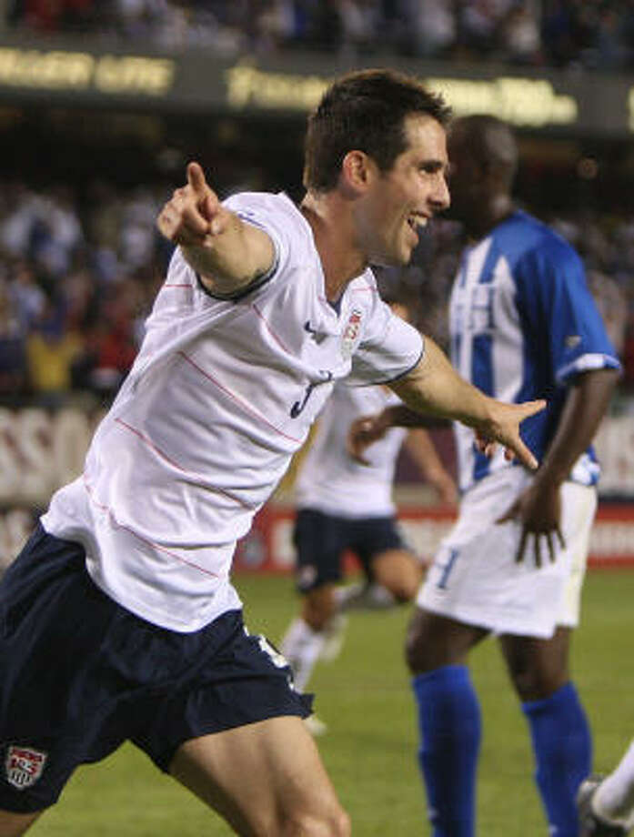 Carlos Bocanegra celebrates after scoring a second-half goal Saturday night. Photo: Jonathan Daniel, Getty Images