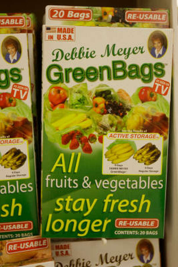 Green Bags products are on sale at a Kroger in Katy. Photo: Melissa Phillip, Chronicle