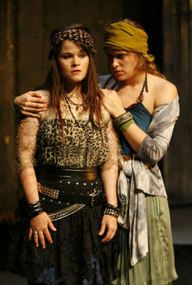 Bree Welch, left, has the title role and Blair Knowles is Ismene in the Classical Theatre Company production of the Sophocles tragedy Antigone. Photo: Karen Warren, Chronicle
