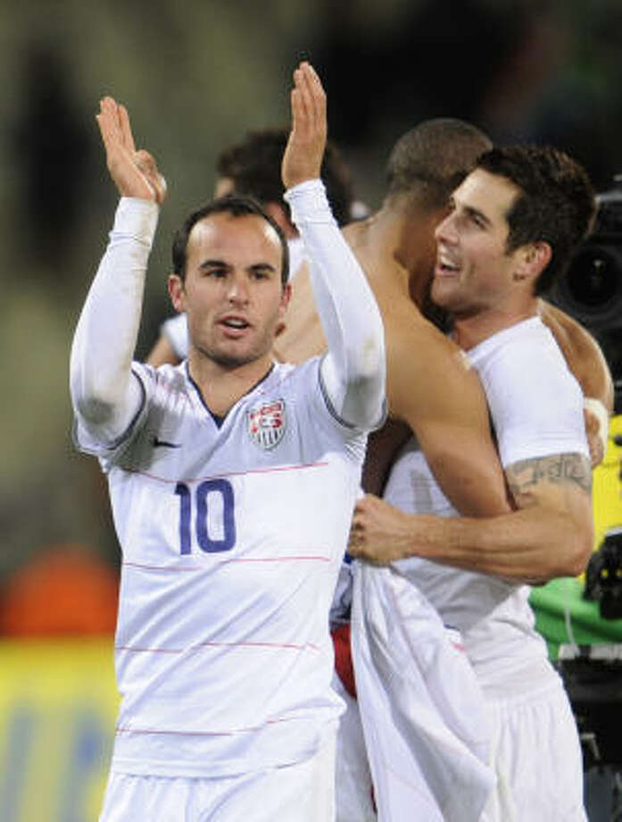 U.S. forward Landon Donovan celebrates after the Fifa Confederations Cup semi-final victory over top-seeded Spain. Photo: PIERRE-PHILIPPE MARCOU, AFP/Getty Images