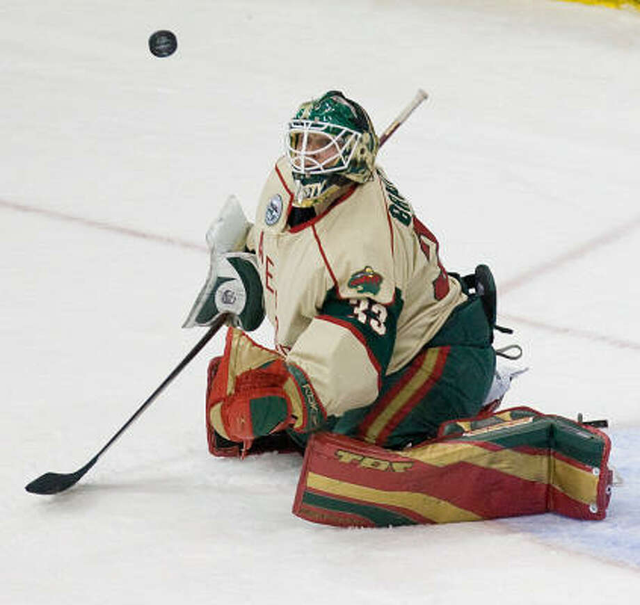 Aeros goalie Barry Brust stopped all six shots he faced in the AHL All-Star Skills Competition. Photo: Nick De La Torre, Houston Chronicle