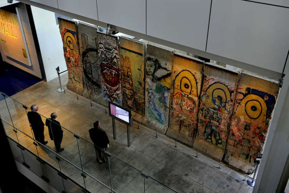 A large of the section of the Berlin Wall is on display at the Newseum in Washington, D.C.  The museum shows how the media covered historic moments. Photo: Washington Post